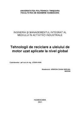 Referat - Tehnologii de reciclare a uleiului de motor uzat aplicate la nivel global