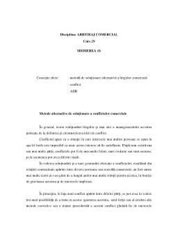 Curs - Arbitrajul - Medierea
