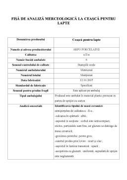 Laborator - Fise de Analiza Merceologica