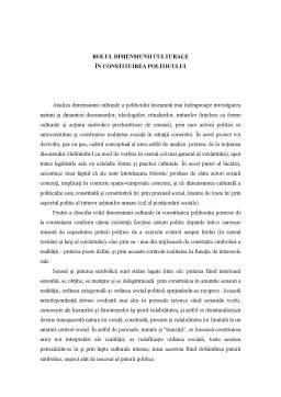 Referat - Rolul Dimensiunii Culturale în Constituirea Politicului