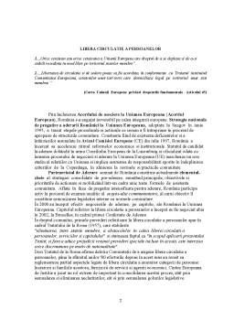 Referat - Libera Circulatie a Persoanelor in Uniunea Europeana