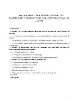 Referat - Obligațiunile și Remediile Juridice ale Vânzătorului în Contractul de Vânzare Internațională de Mărfuri
