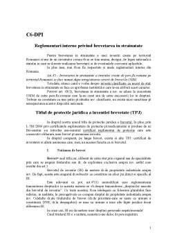 Curs - Curs 6 - Reglementari Interne privind Brevetarea in Strainatate DPI
