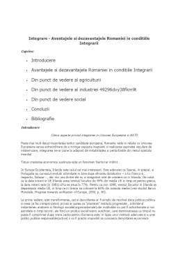 Referat - Avantajele si Dejavantajele Integrarii Romaniei in UE