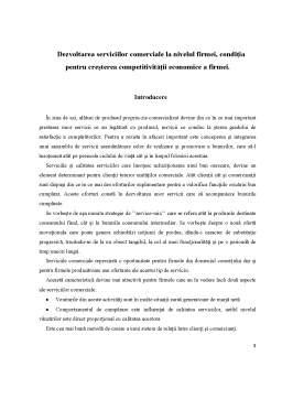 Proiect - Dezvoltarea Serviciilor Comerciale la Nivelul Fimei