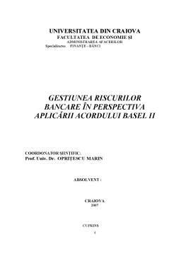 Proiect - Gestiunea Riscurilor Bancare în Perspectiva Aplicării Acordului Basel II
