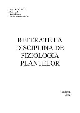 Referat - Fiziologia Plantelor