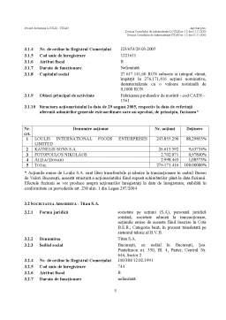 Proiect - Proiect de Fuziune prin Absorbtie a Societatilor SC Loulis SA si SC Titan SA