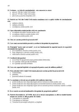 Notiță - Teste Grilă Drept Civil