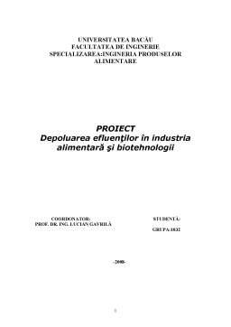 Proiect - Depoluarea Efluenților în Industria Alimentară și Biotehnologii