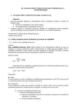 Curs - Analiza Structurii Financiar-Patrimoniale a Intreprinderii
