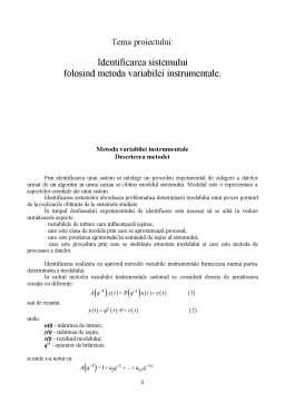 Proiect - Identificarea Sistemului Folosind Metoda Variabilei Instrumentale