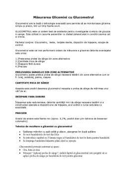 Seminar - Măsurarea Glicemiei cu Glucometrul