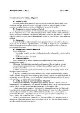 Curs - Mecanismul Rezervelor Minime Obligatorii