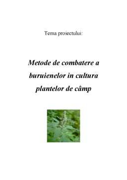 Proiect - Metode de Combatere a Buruienilor in Cultura Plantelor de Camp