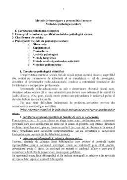 Referat - Metode de Investigare a Personalitatii Umane - Metodele Psihologiei Scolare