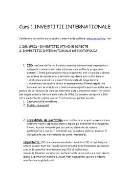Curs - Investitii Internationale