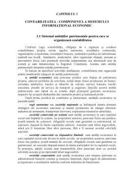 Curs - Contabilitatea - Componentă a Sistemului Informațional Economic