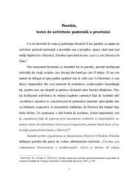 Proiect - Parohia spatiu activ al preotului