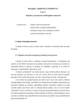 Curs - Felurile și Caracterele Arbitrajului Comercial