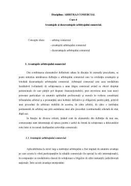 Curs - Avantajele și Dezavantajele Arbitrajului Comercial
