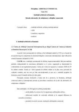 Curs - Institutii Arbitrale in Romania - Metode Alternative de Solutionare a Litigiilor Comerciale