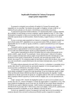 Referat - Implicațiile României în Uniunea Europeană asupra Pieței Asigurărilor