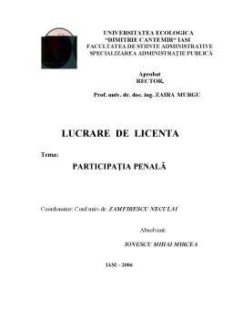 Licență - Participația Penală