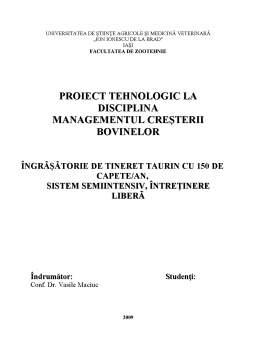 Proiect - Proiect Tehnologic - Managementul Cresterii Bovinelor