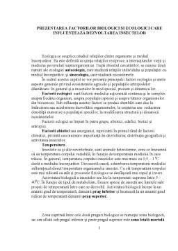 Referat - Prezentarea Factorilor Biologici si Ecologici care Influenteaza Dezvoltarea Plantelor